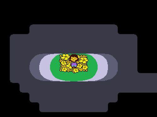 お花畑の上で目覚める人間の子供。これがプレイヤーの操る主人公だ。